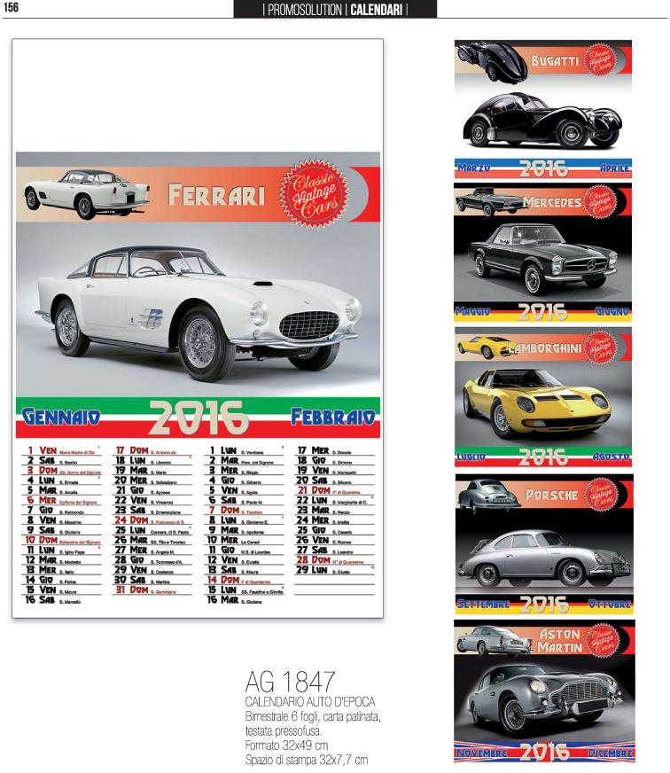 Calendario Auto.Calendario Auto D Epoca Bimestrale 6 Fogli
